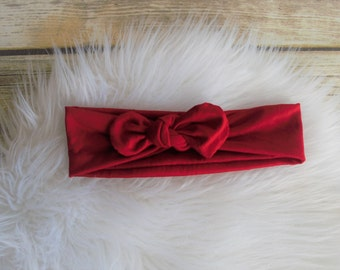 Red Knot Headband, Red Turban Headband, Knotted Headband, Turban Headband, Knot Head Wrap, Infant Headband, Toddler Headband, adult headband