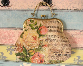 Vintage evening clutch purse with roses, kiss lock purse, metal frame purse, purse with handle, purse with texts
