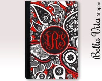 Red Black Paisley iPad Case, iPad Mini 4 Case, Monogrammed iPad Air 2 Case, iPad Mini 2 Case, Mothers Day Gift 2001