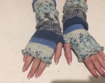 fingerless gloves Knit Fingerless gloves  Mittens  Long Arm Warmers Boho Glove Women Fingerless Wrist multicolored gloves Ready to ship!