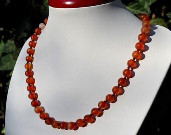 Carnelian necklace. Orange necklace. 8mm carnelian round smooth beads. Orange carnelian beads.