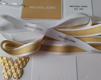 Authentic Michael Kors Ribbons and Cards with Gold Die Cut Butterflies