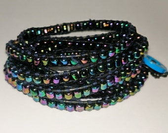 Chan Luu style, boho multi coloured wrap bracelet. Optional personalised heart charm