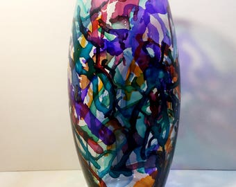 Colorful Vase, Painted Vase, Tall Vase, Alcohol Ink Vase, Alcohol Ink Decor, Home Decor