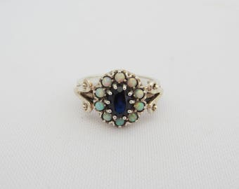 Vintage Sterling Silver Sapphire & Opal Ring Size 7