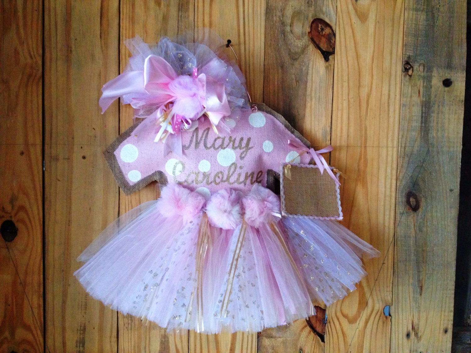 Baby girl hospital door hanger baby girl by for Baby girl hospital door decoration