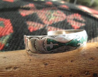 Turquoise and Sterling Inlay Cuff Bracelet