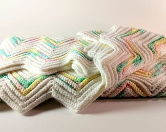Vintage Hand Crocheted Baby Blanket Afghan. White, Yellow, Mint Green & Pastel Pink Chevron Pattern. Shower, New Baby Gift. Nursery Decor.
