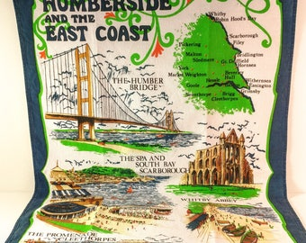 Vintage Humberside and The East Coast Souvenir of England Clive Mayor Cotton Tea Towel with Scenic Map & Points of Interest. Retro Kitchen.