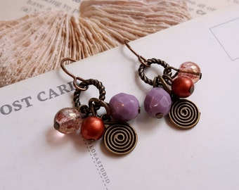 Dangling Czech glass earrings Lilac and luster pink Petite earrings