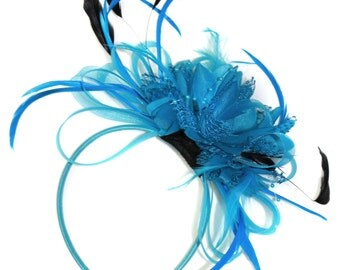 Aqua Net Hoop & Feathers Fascinator On Headband Ascot Wedding Derby