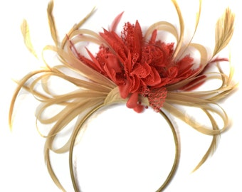 Champagne Gold Beige Camel and Red Fascinator on Headband Alice Band UK Wedding Ascot Races Derby