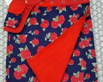 Sale-Velvet Free Size Reversible Wrap Cotton Knee Length Skirt Red  Blue and Flower Print