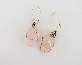 Polished Rose Quartz Drop Earrings