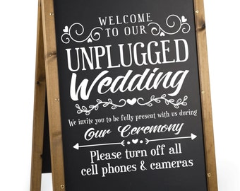 Unplugged Wedding Sign Decal.  No Cameras Wedding Sign Decal.  Unplugged Wedding Sticker.  No Cell Phones or Cameras Decal for Wedding.