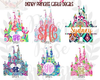 Lilly Pulitzer Inspired Disney Castle Decal | Disney Decal | Disney Car Decal | Disney Lilly Decal | Disney Laptop Decal | Preppy Disney