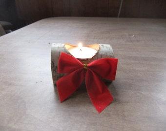 Birch Wood Fireplace Log Tea Light Candle Holder  Rustic Cabin/Mantle Decor