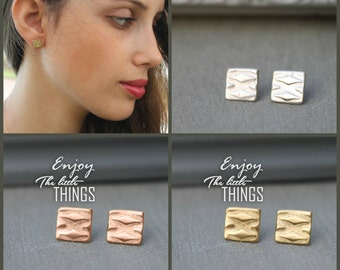 Geometric Square Stud Earrings, Gold square earrings, Gold Geometric Jewelry, 18k gold stud earrings, nickel free earrings