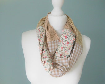 Hippie boho scarf, trending now, cotton Scarf, unique handmade scarves, summer scarf, floral infinity scarf, gift for her, lightweight scarf