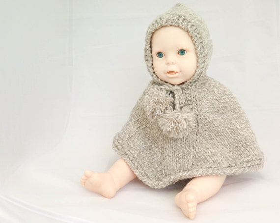 Knitting Pattern For Baby Hooded Cape : KNITTING PATTERN Poncho Hooded Poncho Cape Cloak Baby