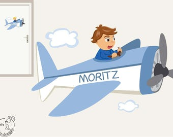 "Wall decal ""plane boy"" personalized with name door sign"