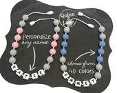 Custom PERSONALIZED Kids Fidget Necklace - Boys & Girls Children's Jewelry - Silicone Chew Bite Beads  - Beads Child Sensory Autism ADHD