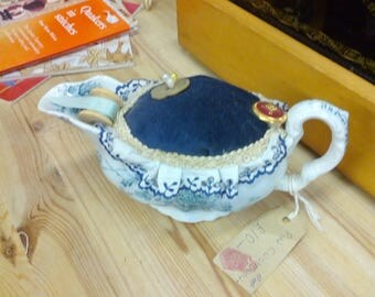 Vintage gravy boat blue white up cycled pin cushion gift