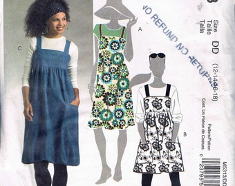 Size 12-18 Misses' Easy Dress Sewing Pattern - Square Neck Jumper Dress Pattern - Sun Dress Sewing Pattern  - McCalls M5313