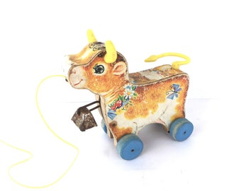Fisher-Price 'Bossy Bell'  No. 656 Cow, Vintage 1959, Made in USA, Pull Toy, Vintage Toys, 1950s Toys, Pull Toys