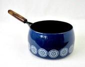 Mid Century Blue Enamelware 2 Qt Sauce Pan - Fissler Company Cookware W Germany - Vintage Kitchen - Retro Pot