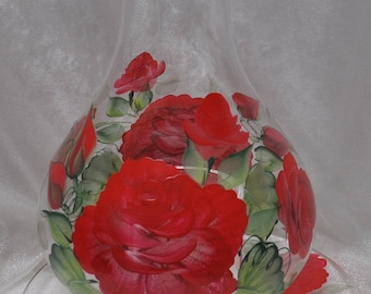 3pc. Hand painted candle holder, Red rose or Sunflower
