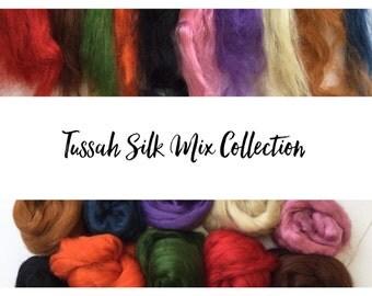 Tussah Silk Tops *rainbow mix selection* 100 grams - 10 x 10 grams