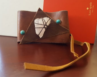 Abstract Leather Cuff with Rose Quartz