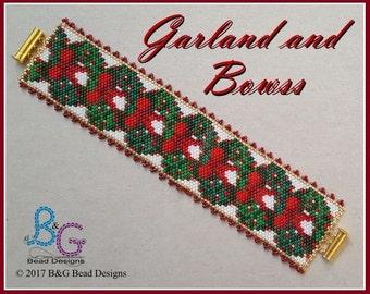 GARLAND AND BOWS Peyote Cuff Bracelet Pattern