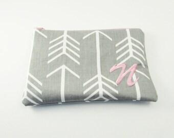Grey Makeup Bag - Cosmetic Bag in Grey - Zip Pouch - Wallet - Bridesmaid Purse - Medium