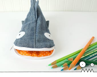 Pencil pouch, Shark pencil case --- upcycled pencil case, eco freindly, school supplies, kids gift, teacher gift, Handmade by Les Funky