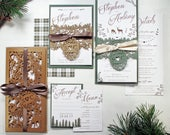 Rustic Wedding invitation Wedding stationery suite  Woodland laser cut wedding invitation Kraft invite Outdoor Forest themed wedding