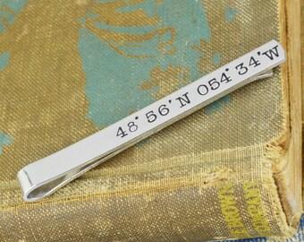 Custom Coordinates Tie Bar - Hand Stamped Groom Gift