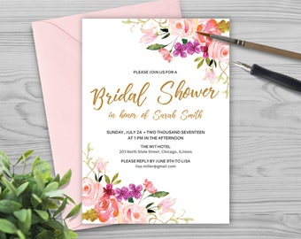 Wedding Shower Invitation Template - Bridal Shower Invitation Template - Watercolor and Flowers - Photoshop Template - PW1712