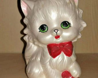 Vintage Kitten Figurine with Red Ball of Yarn Lustre White Ceramic Kitty Cat Statue Kitsch Kawaii Collectible Childs Room Nursery Decor Gift