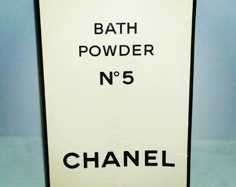 RARE Vintage CHANEL No 5 Bath Powder Talc SEALED 70s 80s Discontinued Chanel Number 5 Five Designer Fragrance Haute Couture Classic Gift Her