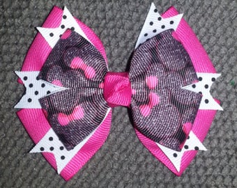 Minnie Mouse Handmade Fuchsia Black Boutique Bow