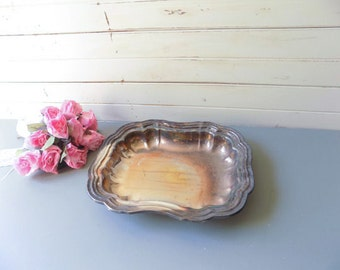Farmhouse Tray, Distressed Rustic Serving Tray, Silver Plate Wedding Tray, Silver Patina Dish, Cottage Chic Tray