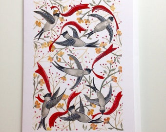 Birds and Words greeting card 4.25x5.5 blank inside