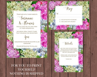 hydrangea wedding invitation suite, watercolour wedding invitation, Printable wedding invitation set, digital wedding invitation suite