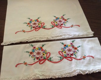 Hand Embroidered White Pillow Cases, Standard Pair of 2, floral and ribbon pattern