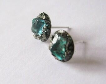 Raw Blue Apatite  earrings-Pyrite ear stud-raw gem silver tone earring-raw gemstone and pyrite earrings-blue gem silver post earrings