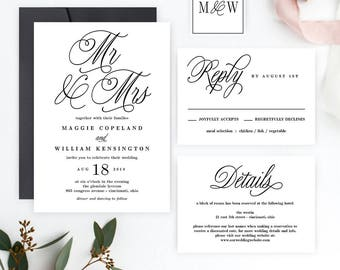 MR AND MRS Printable Wedding Invitation Set - Wedding Suite Editable Template - Instant Download