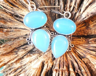 Chalcedony and Sterling silver Earrings