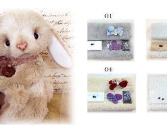 KIT of materials for BUNNY 17 cm pattern by Tatyana Kazayeva teddy bear making supplies